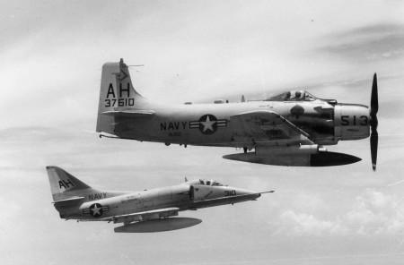 Douglas A-1H Skyraider, serial number 137610, VA-152 with Douglas A-4 Skyhawk